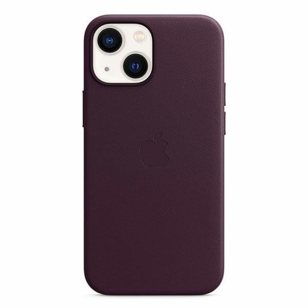 כיסוי לאייפון 13 מיני מקורי דובדבן כהה עור תומך MagSafe