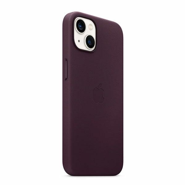 כיסוי לאייפון 13 מקורי דובדבן כהה עור תומך MagSafe