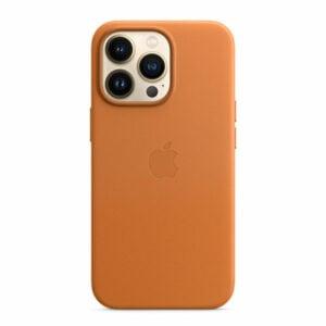 כיסוי לאייפון 13 פרו מקורי חום זהוב עור תומך MagSafe