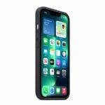כיסוי לאייפון 13 פרו מקורי עור שחור חצות תומך MagSafe