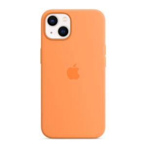 כיסוי לאייפון 13 מקורי כתום מריגולד סיליקון תומך MagSafe