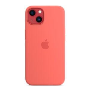 כיסוי לאייפון 13 מקורי ורוד פומלה סיליקון תומך MagSafe