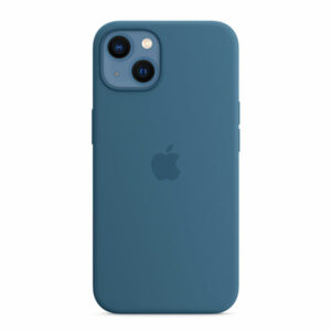 כיסוי לאייפון 13 מקורי כחול עורבני סיליקון תומך MagSafe