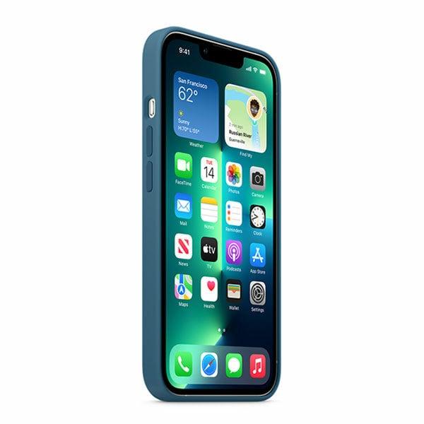 כיסוי לאייפון 13 פרו מקורי כחול עורבני סיליקון תומך MagSafe