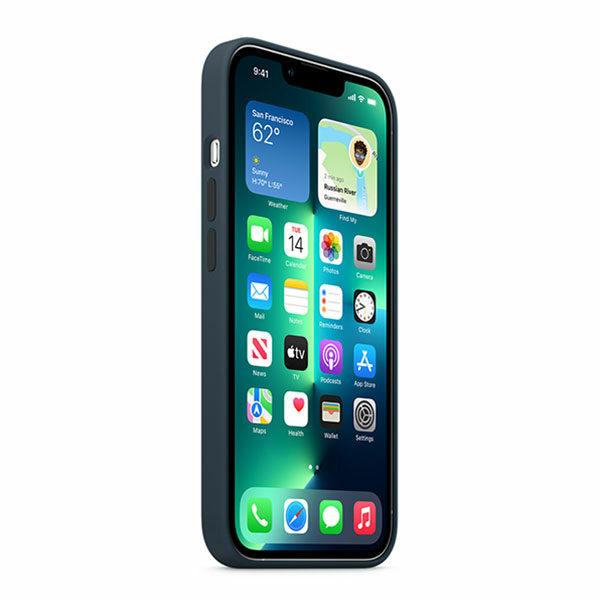 כיסוי לאייפון 13 פרו מקורי כחול תהום סיליקון תומך MagSafe