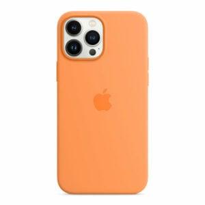 כיסוי לאייפון 13 פרו מקס מקורי כתום מריגולד סיליקון תומך MagSafe
