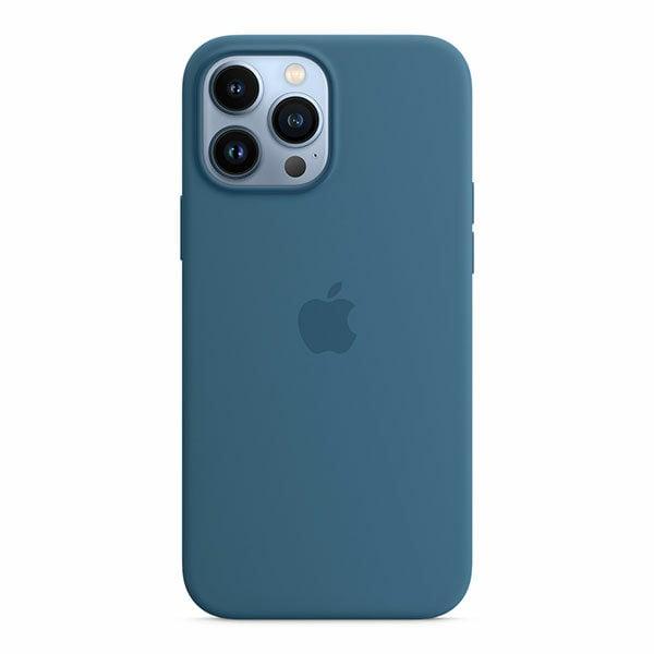 כיסוי לאייפון 13 פרו מקס מקורי כחול עורבני סיליקון תומך MagSafe